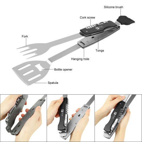 Stainless Steel Folding Multi Use for Grilling Helios Tool BBQ Multi Tool Set
