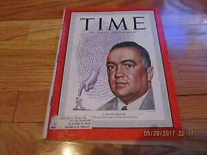AUGUST 8 1949 TIME MAGAZINE- J EDGAR HOOVER COVER VOL LIV NO 6