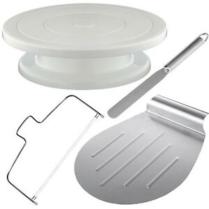 4tlg-Tortenplatte-Drehbar-Kuchenretter-Streichpalette-Tortenboden-Schneider-SET