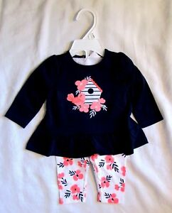 Gymboree-Baby-Boats-amp-Blooms-Flower-Bird-Shirt-amp-Pants-Outfit-Set-Sz-3-6-mo-NEW