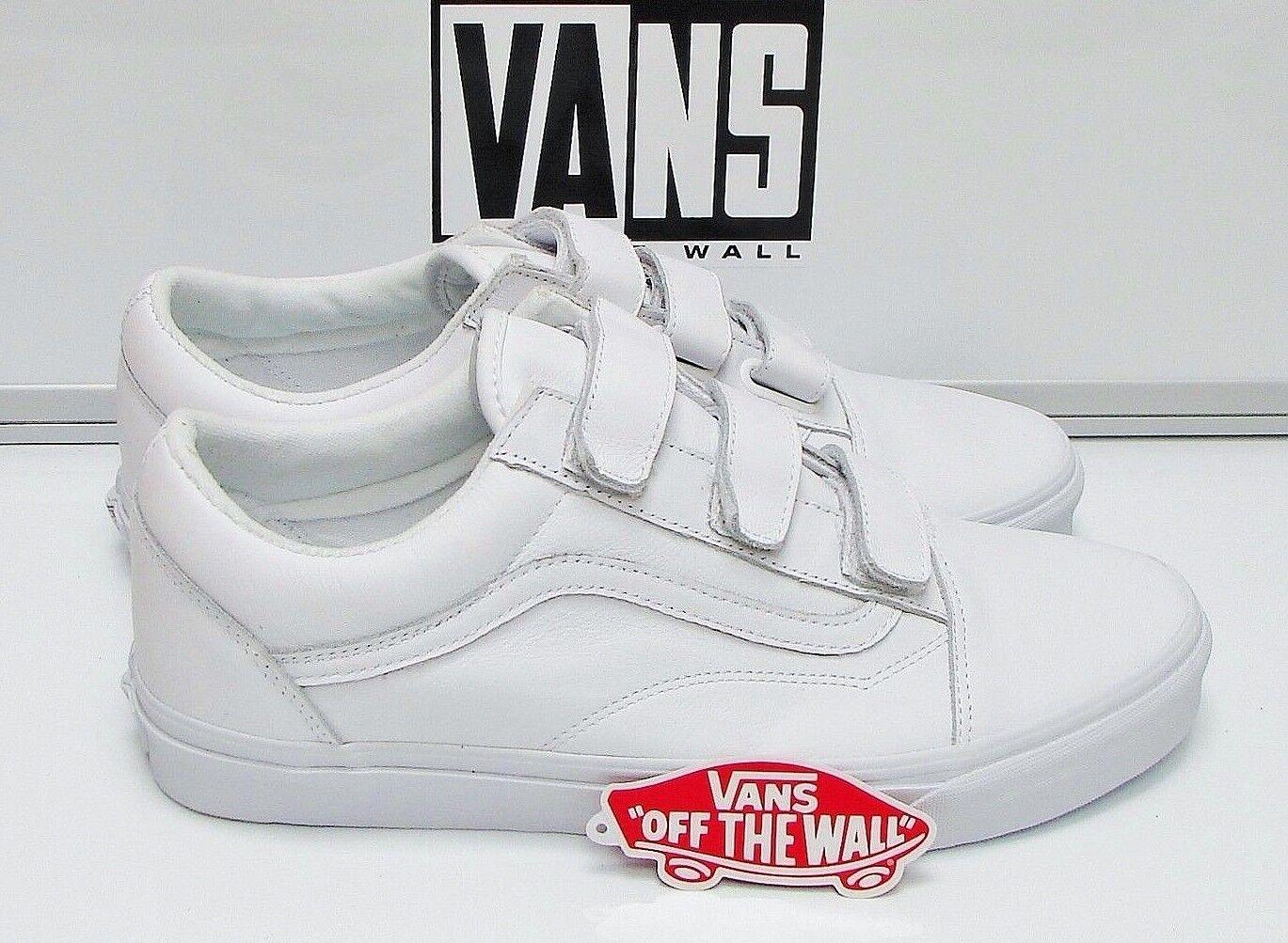 Vans Old Skool V Mono Leather True White VN0A3D29OP0 Men's Size  12
