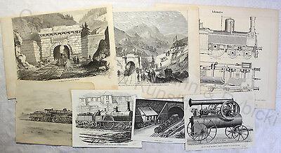 Sammlung Grafiken Eisenbahn Dampflokomotiven 1 Zeichnung 6 Holzstiche 1850-1900 Mangelware