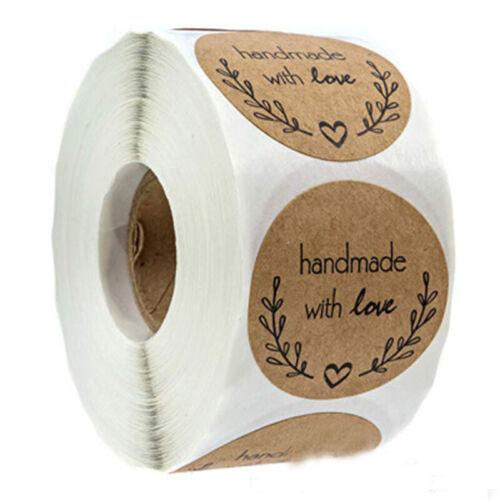 500pcs Hand Made Kraft Stickers Seals Label DIY Wedding Party Decoration