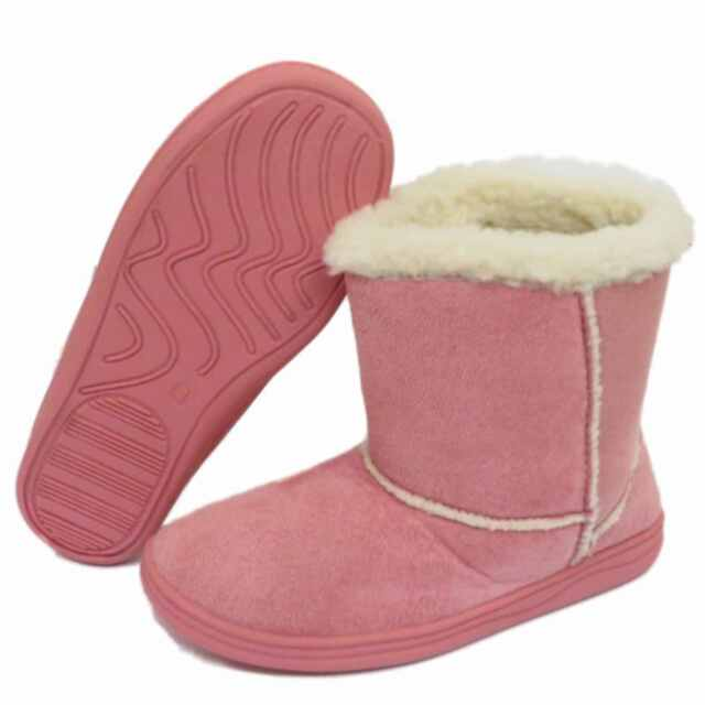 GIRLS TAN FAUX FUR LINED SNUGG WARM WINTER HARD SOLE PULL ON BOOTS UK SIZE 9-1