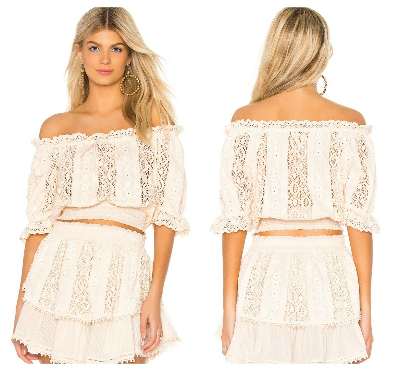 SAYLOR SEXY  CREER  OFF THE SHOULDER CROCHET LACE COTTON TOP  Sz S  NWT   253