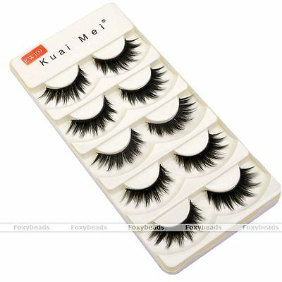 5 Pair Makeup Handmade Natural Fashion Long False Eyelashes Eye Lashes KW109 FB