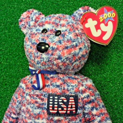 MWMT Ty Beanie Baby USA The Patriotic Bear Retired God Bless America