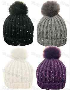 e2fcd447a96 Ladies Knitted Ribbed Sequin Beanie Bobble Ski Hat With Removable ...