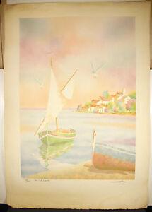 """Original """"la Voile Blanche """" Num 51/225 Gravure Signée Salvador Cavalle The White Sail"""
