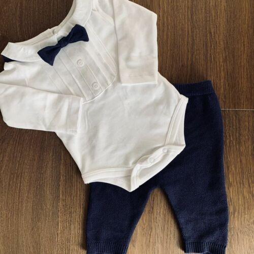 56 62 68 74 80 blau weiß NEU Baby Jungen Set 3-teilig Body Hose Fliege Gr