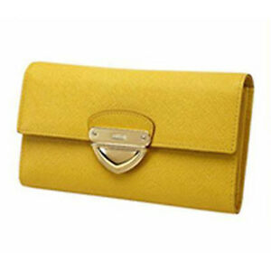 CLEARANCE-MCM-YELLOW-LONG-FLAP-LEATHER-WALLET