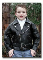 Diamond Plate Rock Leather Kids Motorcycle Jacket Zipped Belted Snaps Like Dads
