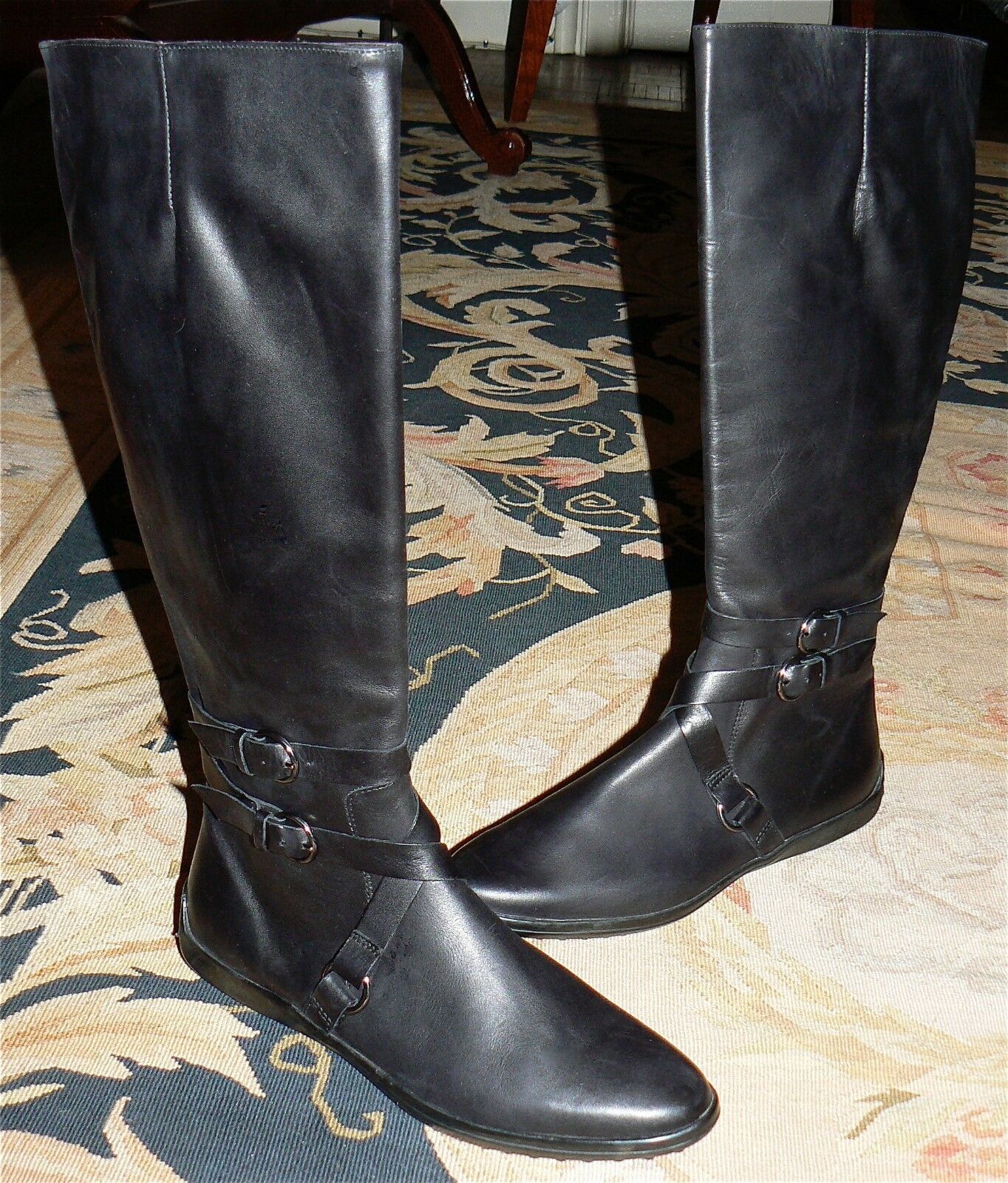SAKS FIFTH AVE BLACK LEATHER EQUESTRIAN TALL RIDING BOOT MCQUEEN PRDA 8.5 M NEW
