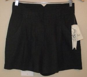 70019edc8c BIRD by JUICY COUTURE Women s Washed Black Linen Pleated Shorts NWT ...