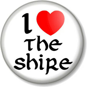 I-Love-Heart-THE-SHIRE-1-Pin-Button-Badge-Hobbit-Lord-Of-Rings-JRR-Tolkein