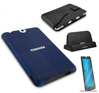 Toshiba Thrive Accessory Bundle Dock,Carrying Case, Blue Cover & 2 Screens New
