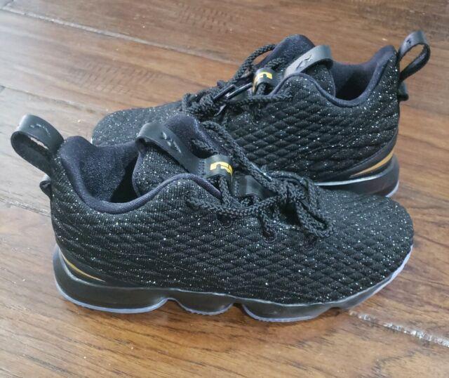 huge discount 53ff4 35ad3 Boys Nike Lebron XV 15 Black Gold Basketball Shoes 922812-006 Size 3y