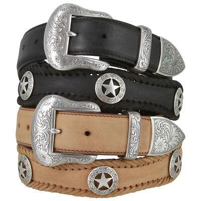 """1-1//2/"""" Wide Longhorn Barbwire Western Copper Genuine Leather Jean Belt"""