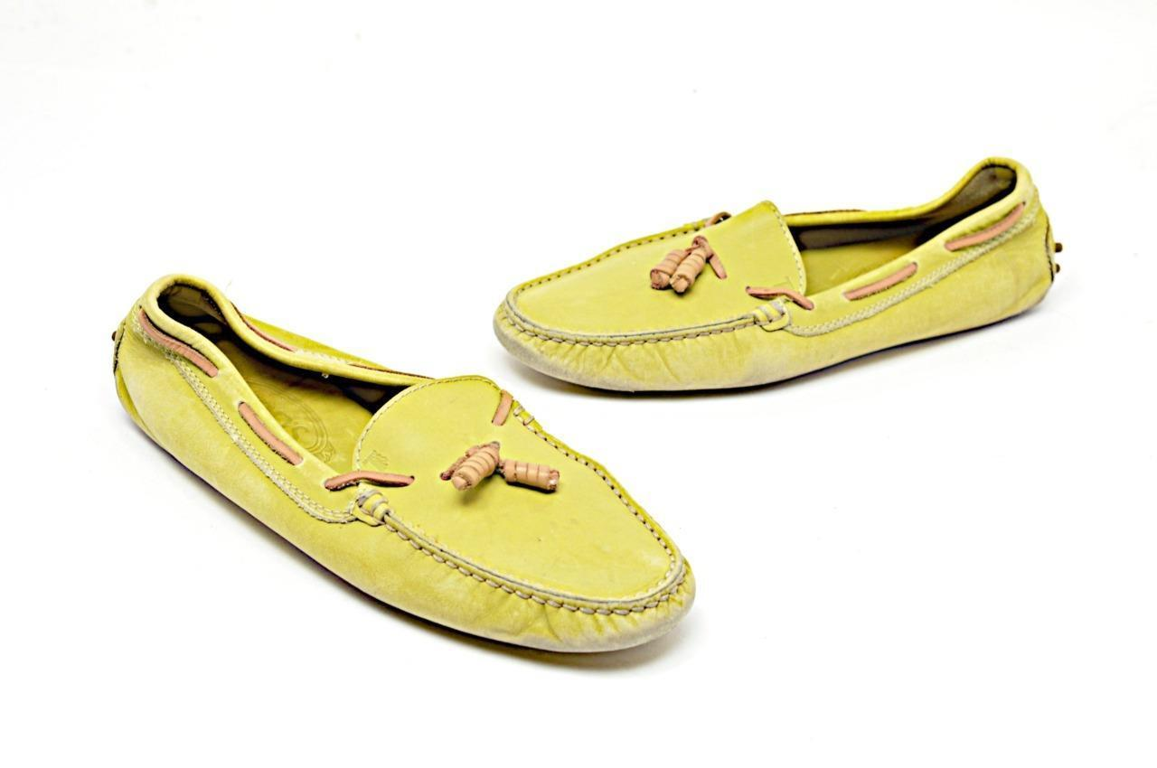 TOD'S Pale Lime 100% Leather Flat Loafers w/ Tan Trim + Pebble Soles  Sz 39