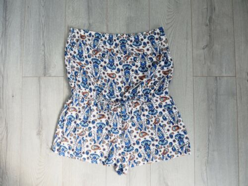 Paisley Playsuit Womens Uk Bianco Blu Wear Holiday L Pagliaccetto Beach Summer Print qx7pT
