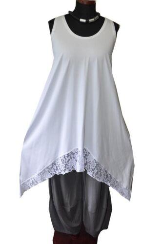 Vestido tiras blanco y en con túnica encaje jersey Lagenlook vrRvUtxwq