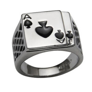 ITS-Men-039-s-Cool-Poker-Ace-of-Spades-Stainless-Steel-Ring-Fashion-Jewelry-Gift-He