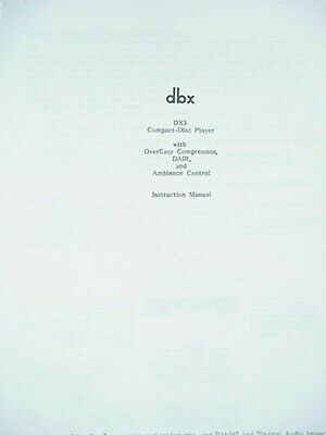 Consumer Electronics Manuals & Resources dbx DX5 COMPACT-DISC CD ...