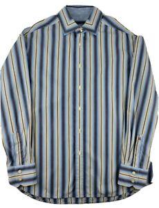 Robert Graham Mens Size XL Blue Striped Long Sleeve Flip Cuff Dress Shirt