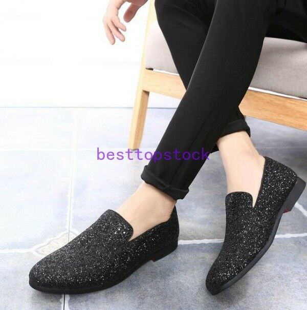 Hot Mens Glitters Bling Casual Slip on Loafers Dress Formal Party Clubwear shoes
