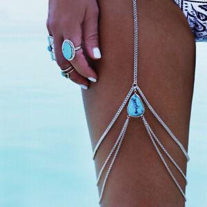 Stylish-Shiny-Teardrop-Leg-Body-Chain-Harness-Jewellery-Multi-Layer-Bead-UK