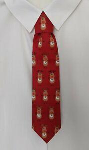 Handmade Boys Red Rudolph reindeer cartoon print tie - Pre-tied elasticated