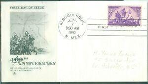 US-898-400th ANNIV.CORONADOS JOURNEY cancel.ALBUQUUERQUE N.MEX-1940 ADDR.3c