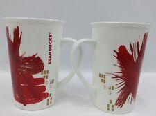 Lot of 2 Starbucks 2014 White Red Star Burst Ceramic Coffee Mug Cup 16 Oz