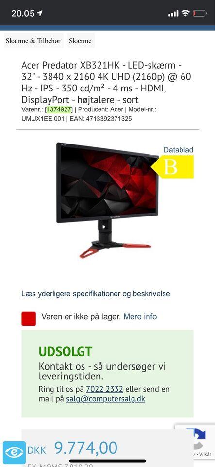Acer Predator, XB321 HK, 32 tommer