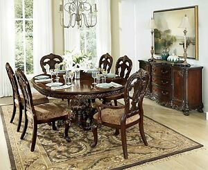 Image Is Loading EXQUISITE ROUND OVAL FORMAL DINING TABLE Amp 6