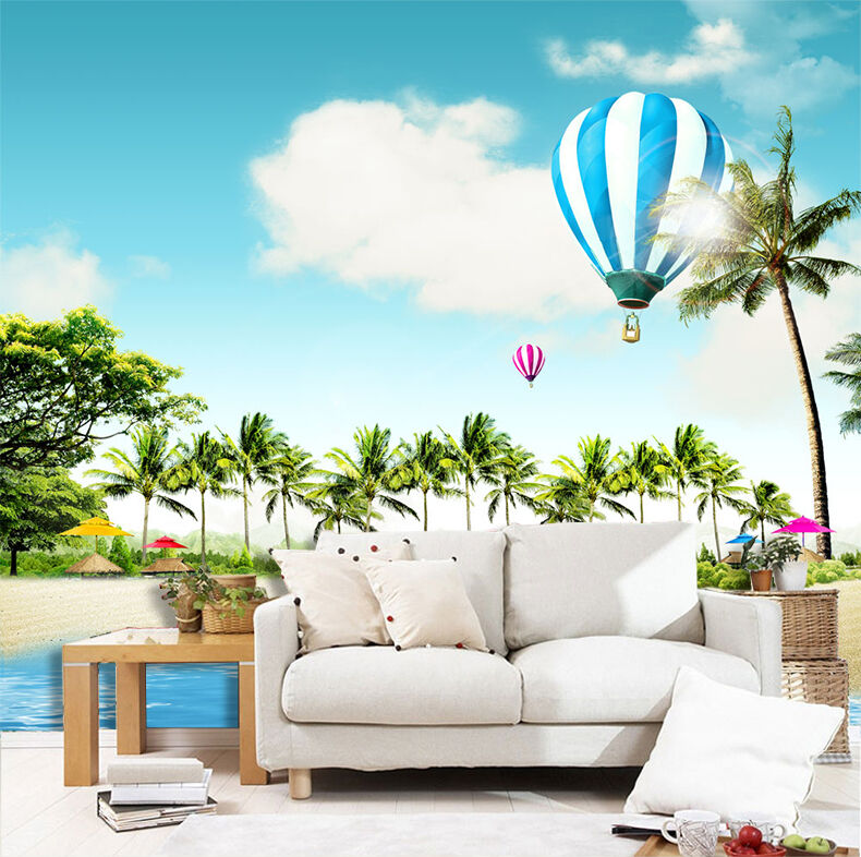 3D Beach, trees 877 Wall Paper Print Wall Decal Deco Indoor Wall Murals