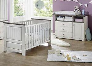 Massivholz Babyzimmer Set Weiss Grau Kiefer Massiv Neu Babybett