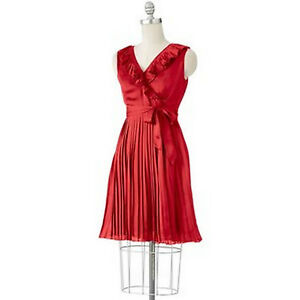 Apt-9-Misses-Red-Satin-Ruffled-Pleated-Accordion-Sleeveless-Dress-M
