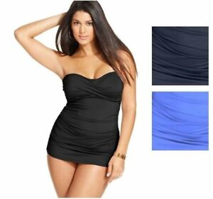 2349822accd4d Anne Cole Twist Bandeau Swimdress Ruched One-Piece Swimsuit Plus ...