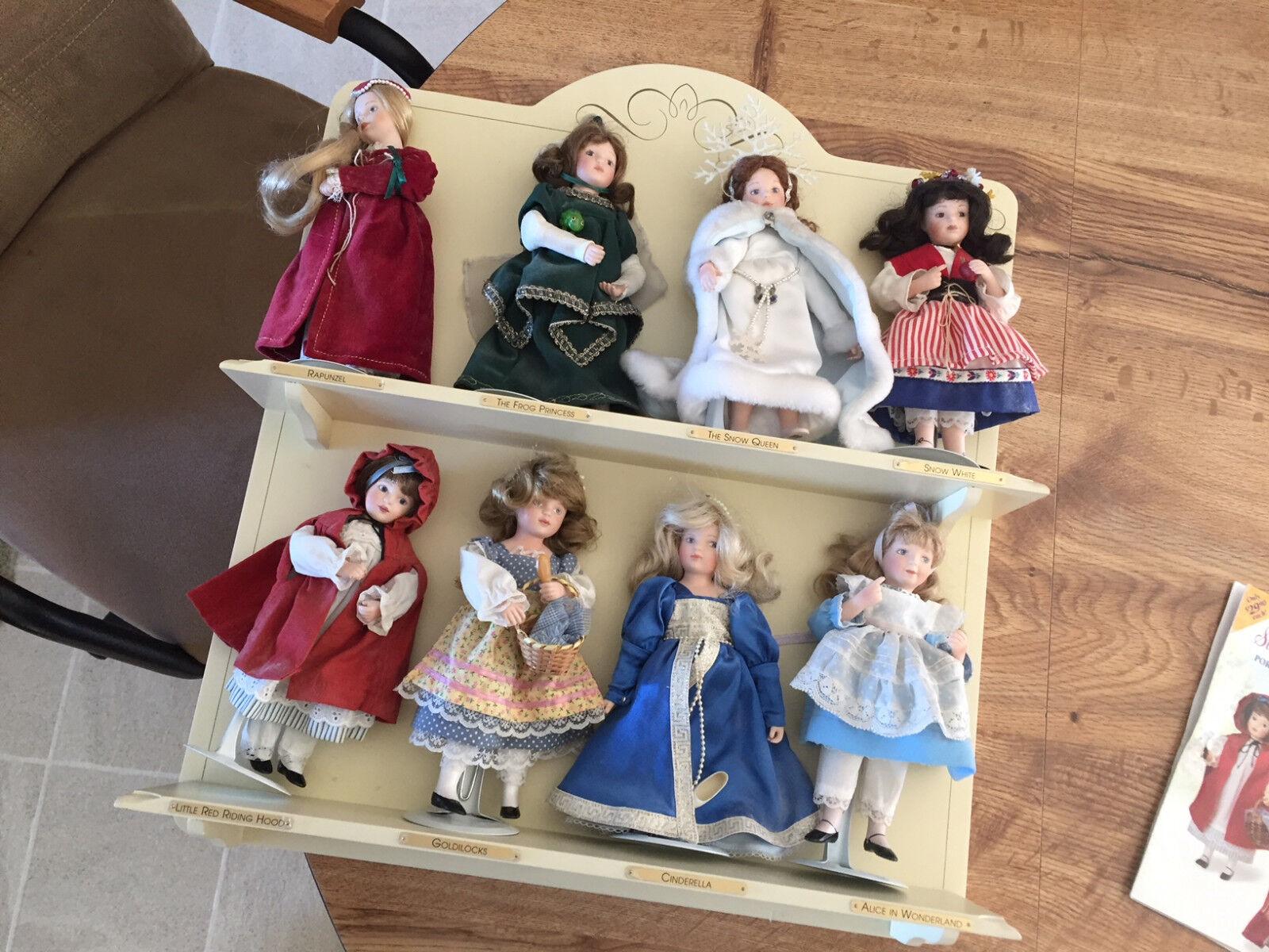 Danbury Miny Treasurosso Story Books Porcelain Dolls with Display Shelf