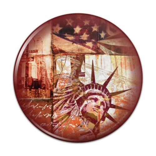 New York City Statue Liberty Tile Collage Pinback Button Pin Badge