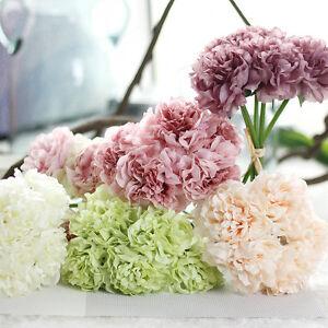 5 Köpfe Kunst Pfingstrose Blumen Bouquet Kunstblumen Künstliche Pflanzen Dekor