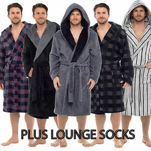 Mens-Deluxe-Luxury-Dressing-Gown-Robe-Bathrobe-Warm-Fleece-Hooded-COSY-SOCK