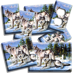 WILD GRAY WOLF FAMILY WINTER 1GFCI SWITCH OUTLET WALL PLATE COVER ROOM ART DECOR
