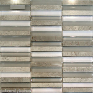 Image Is Loading Sample Wooden Grey Marble Amp Gl Mosaic Tile