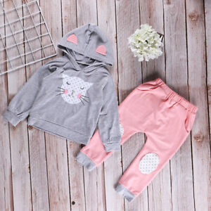 2PCS-Kids-Girls-Hoodie-Tops-Loose-Pants-Long-Sleeve-Causal-Outfits-Sweat-Suit