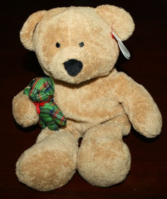"""NWT TY Pluffies 10"""" BEARY MERRY the Bear Holding Teddy Bear Plush All Ages 2005"""