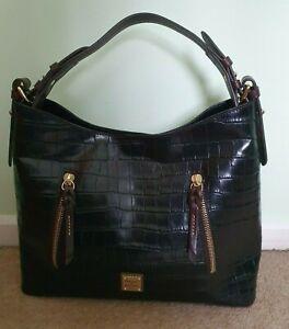 Dooney-and-Bourke-Black-Mock-Croc-Leather-Tote-Bag-New-Genuine