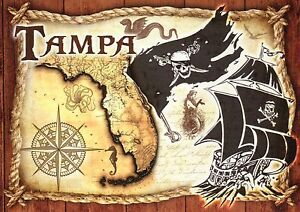 Tampa Florida Map.Tampa Florida Map Jolly Roger Flag Pirate Ship Seahorse Mermaid