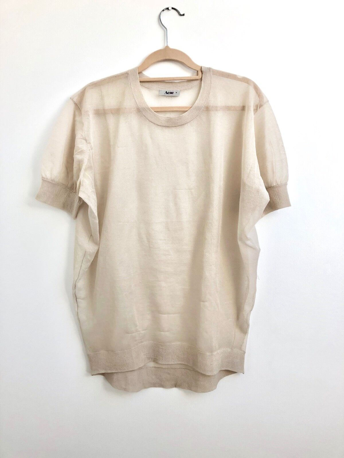 NEW ACNE CREPE SILK TOP OVERSIZED BEIGE SHEER UK S M L RRP UNISEX SOLD OUT